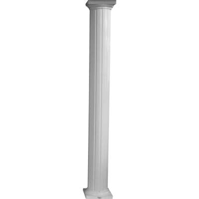 Crown Column 8 In. x 8 Ft. White Powder Coated Round Fluted Aluminum Column