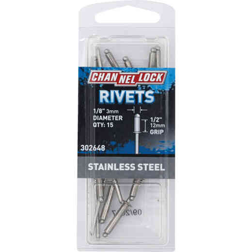 Channellock 1/8 In. Dia. x 1/2 In. Grip Stainless Steel Rivet (15-Pack)