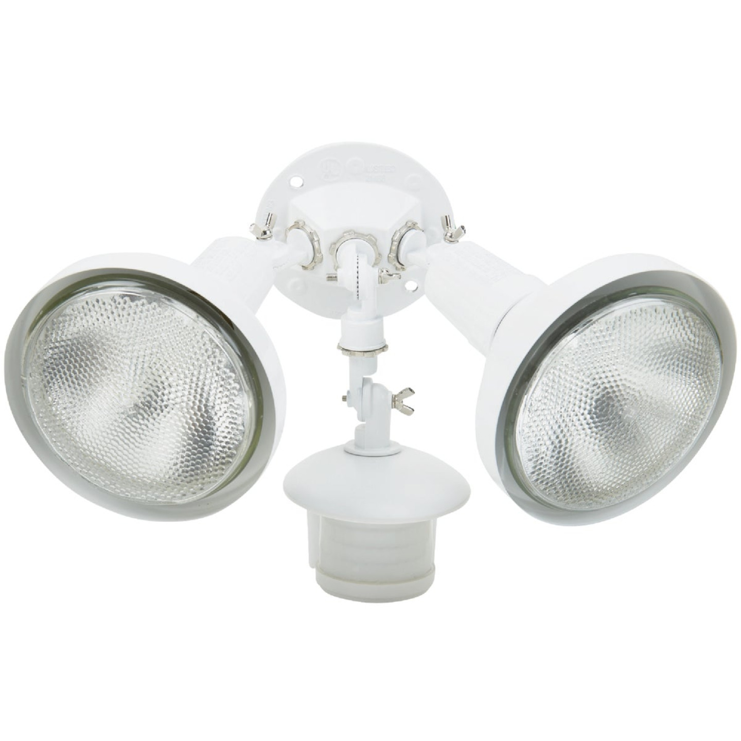 White Motion Sensing Dusk To Dawn Incandescent Floodlight Fixture Image 1