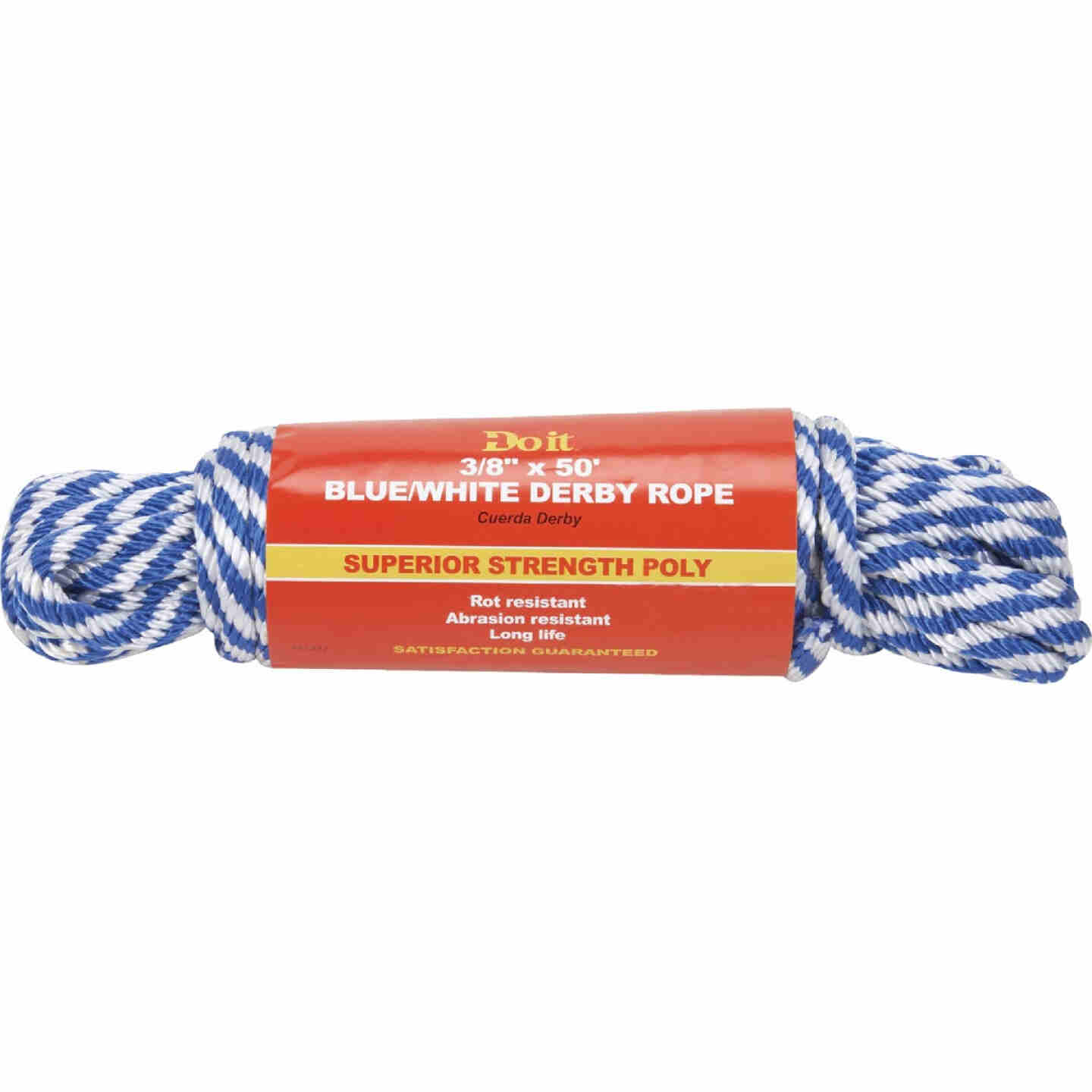 Do it 3/8 In. x 50 Ft. Blue & White Derby Polypropylene Packaged Rope Image 1